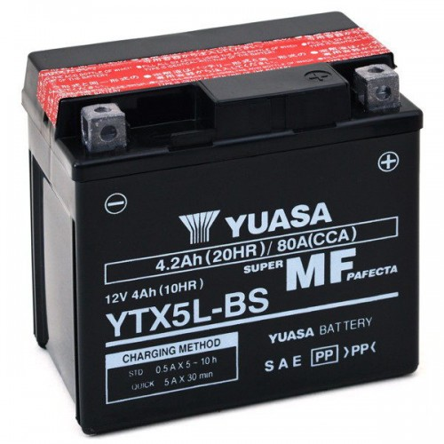 BATTERIA YUASA YTX5L-BS (SIGILLATA CON ACIDO A CORREDO)